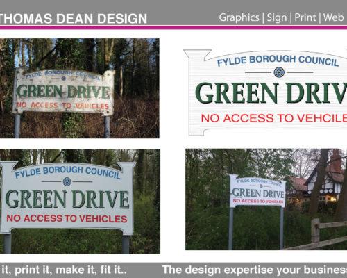 Green Drive Public Path Sign