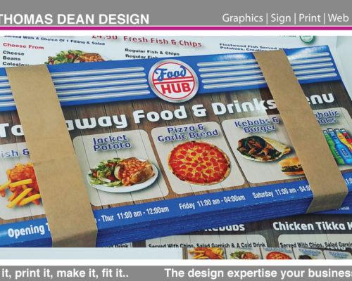 Food Hub Takeaway Folded Menus